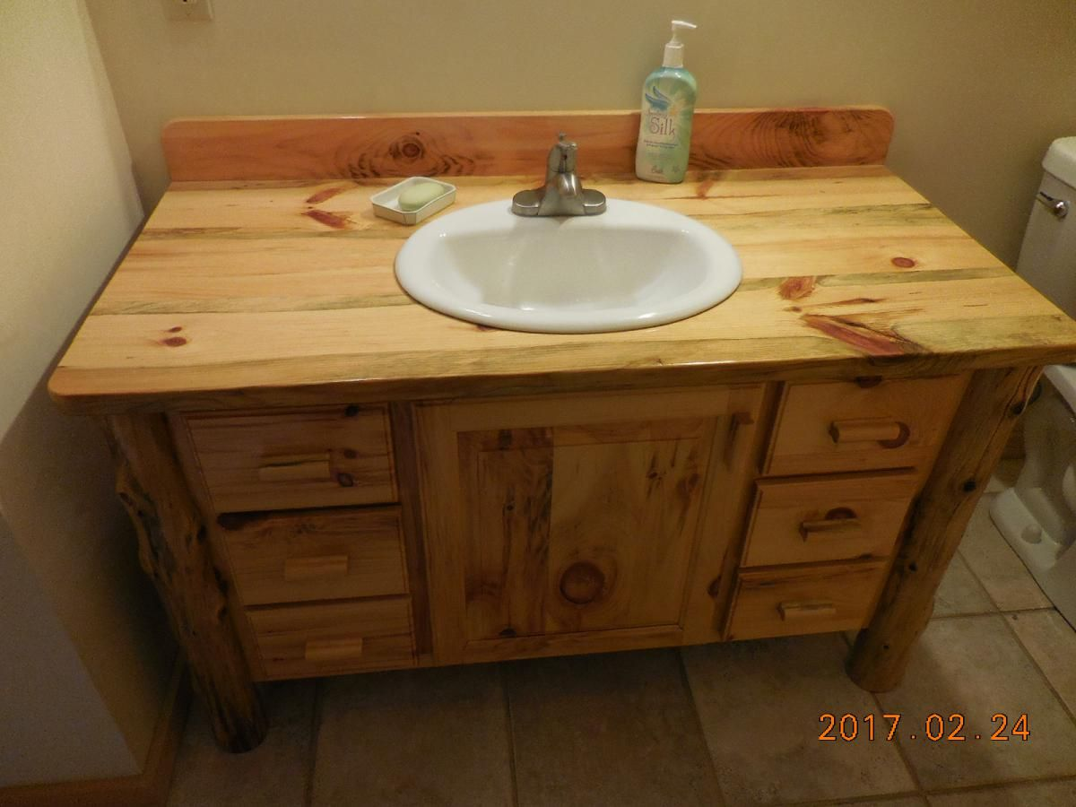 Custom Made Knotty Pine Bathroom Vanity By Harry S Cabin Furniture Custommade Com