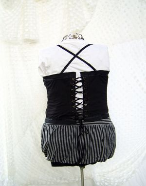 Custom Made Black Upcycled Bustier Extra Large