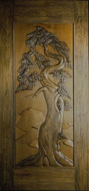 Custom Made Ancient Juniper - Carved Entry Door In White Oak