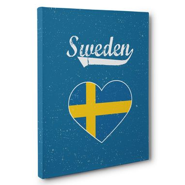 Custom Made Retro Sweden Heart Canvas Wall Art