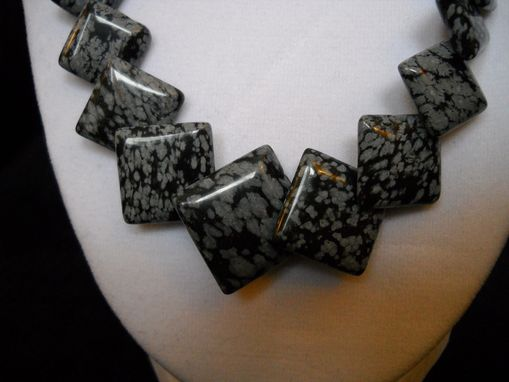 Custom Made Snowflake Obsidian Overlay Pendant Necklace