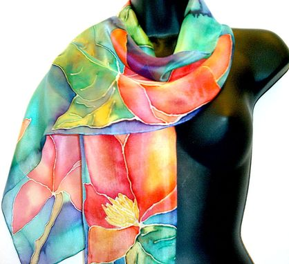 Custom Made Hand Painted Silk Floral Scarf