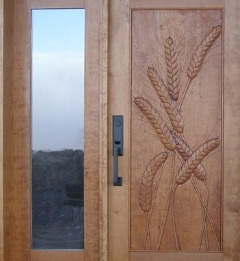 Custom Made Door And Sidelight With Carved Wheat Panel In Cherry