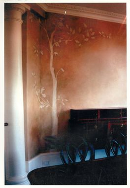 Custom Made Dining Room Mural Done In An Oak Leaf Motif
