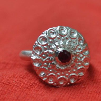 Custom Made Ruby And Silver Ring