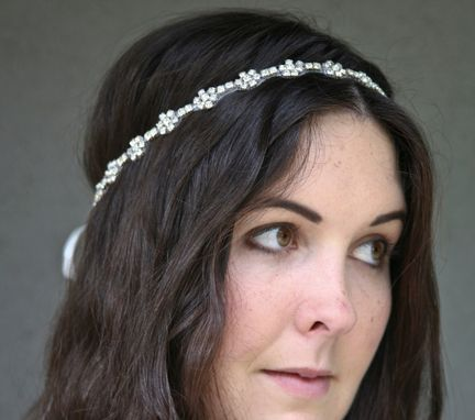 Custom Made Rhinestone Flower Chain Headband With Ribbon Ties, Headbands For Weddings