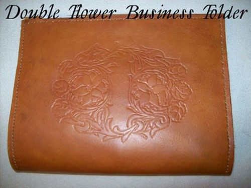 Custom Made Custom Leather Business Binder With Double Flower Design In Canyon Tan