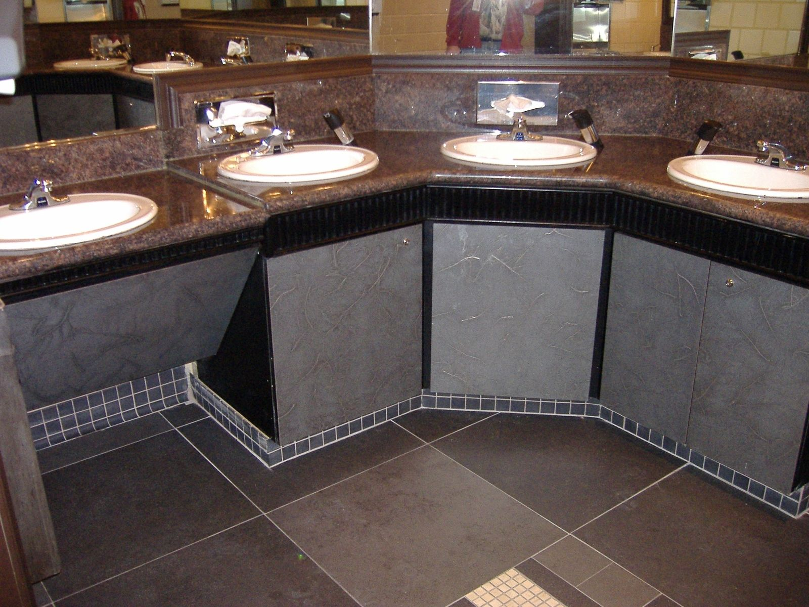 Hand Crafted Custom Cabinets For Casino Bathrooms By Hmi Millworks