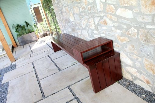 Custom Made Mahogany Outdoor Bench With Sliding Table