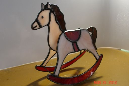 Custom Made Red Saddled Stained Glass Rocking Horse