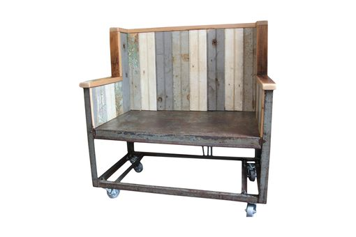Custom Made Industrial Rolling Cart Bench, Reclaimed Tongue & Groove Panels