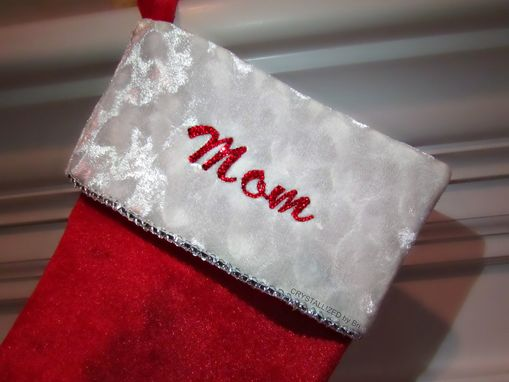 Custom Made Personalized Crystallized Christmas Stocking Made With Swarovski Crystals