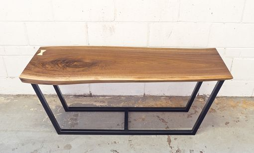 Custom Made Live Edge Walnut Butterfly Key Bench With Steel Base