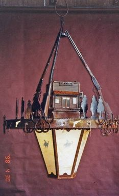 Custom Made Outlaw Chandelier, Fabricated Metal Sculpture