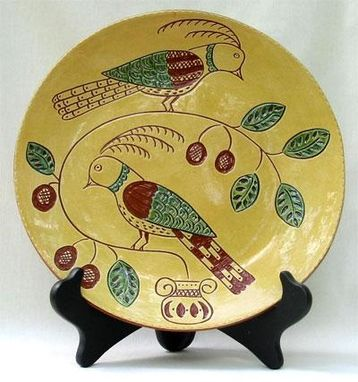 Custom Made Ceramic Plate, Two Turtles Doves
