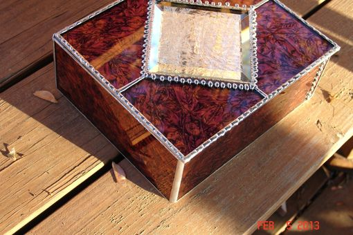 Custom Made Van Gogh Glass Red & Copper Large Jewelry Box