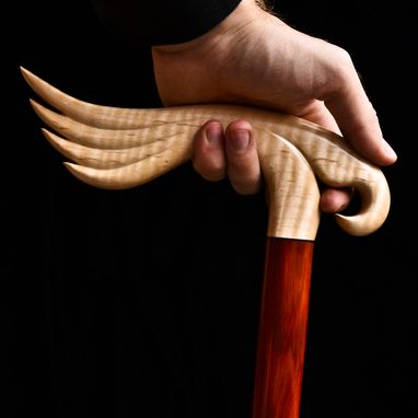 Custom Made Handmade Bird Of Prey Walking Cane In Curly Maple And Redheart Woods