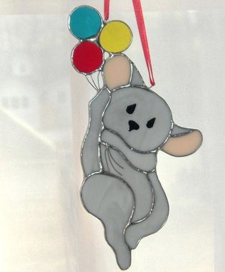 Custom Made Mouse With Balloons Sun Catcher