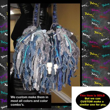 Custom Made Crochet Round Fringe Handbag,Knit,Jean,Denim,Aqua,Custom Made,Beads,One Of A Kind