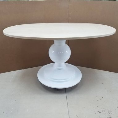 Custom Made Modern Oval Solid Wood Banquette Dining  Table