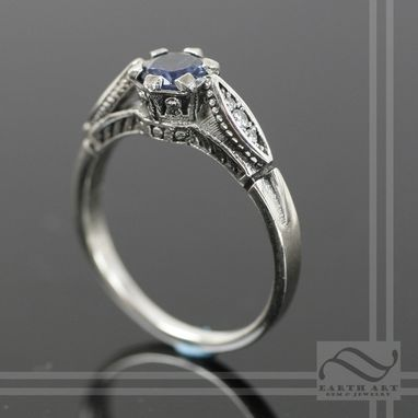 Custom Made Vintage Style Sapphire And Diamond Ring