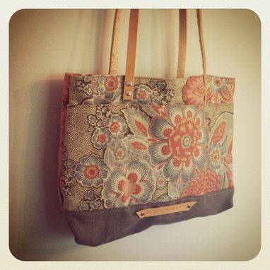 Custom Made Remnant Tote /Recycled Upholstery Fabric /Faded Denim Bottom /Waxed Leather Riveted Straps