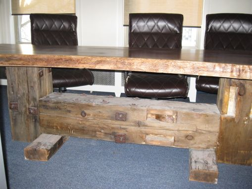 Custom Made Rustic Walnut And Timber Conference Table
