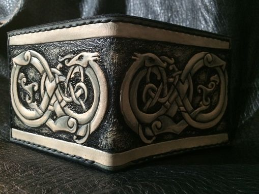 Custom Made Leather Viking Dragon Wallet Leather Bifold