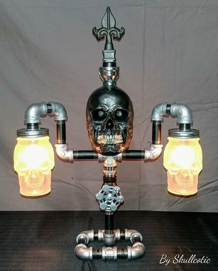 "Custom Made ""Just Chillin"" Black & Silver Pipe Skull Lamp"