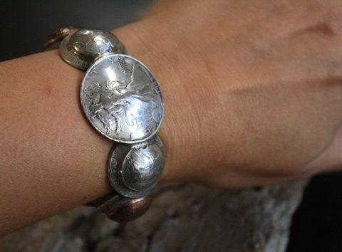 Custom Made Womens Domed Silver & Copper Coin Cuff Bracelet  Size 7 (Small)