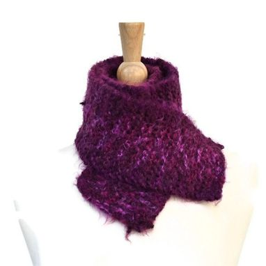 Custom Made Purple Knit Scarf Winter - Soft Plush Warm Grape