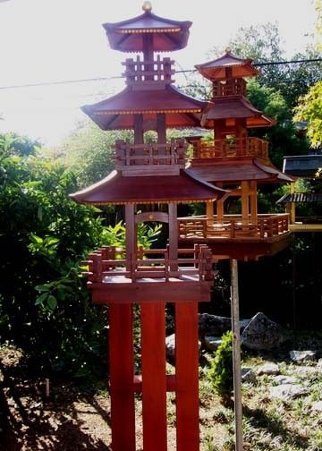 Hand Crafted 3 Story Japanese Bird Feeders By Derek