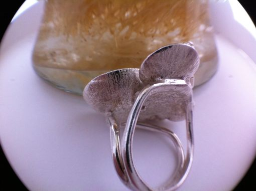 Custom Made Silver And 14k Yellow Gold Refecting Pool Ring