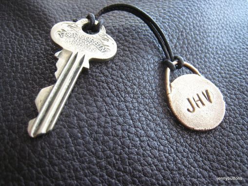 Custom Made Three Letter Monogrammed Key Fob Key Chain Zipper Pull In Solid Bronze