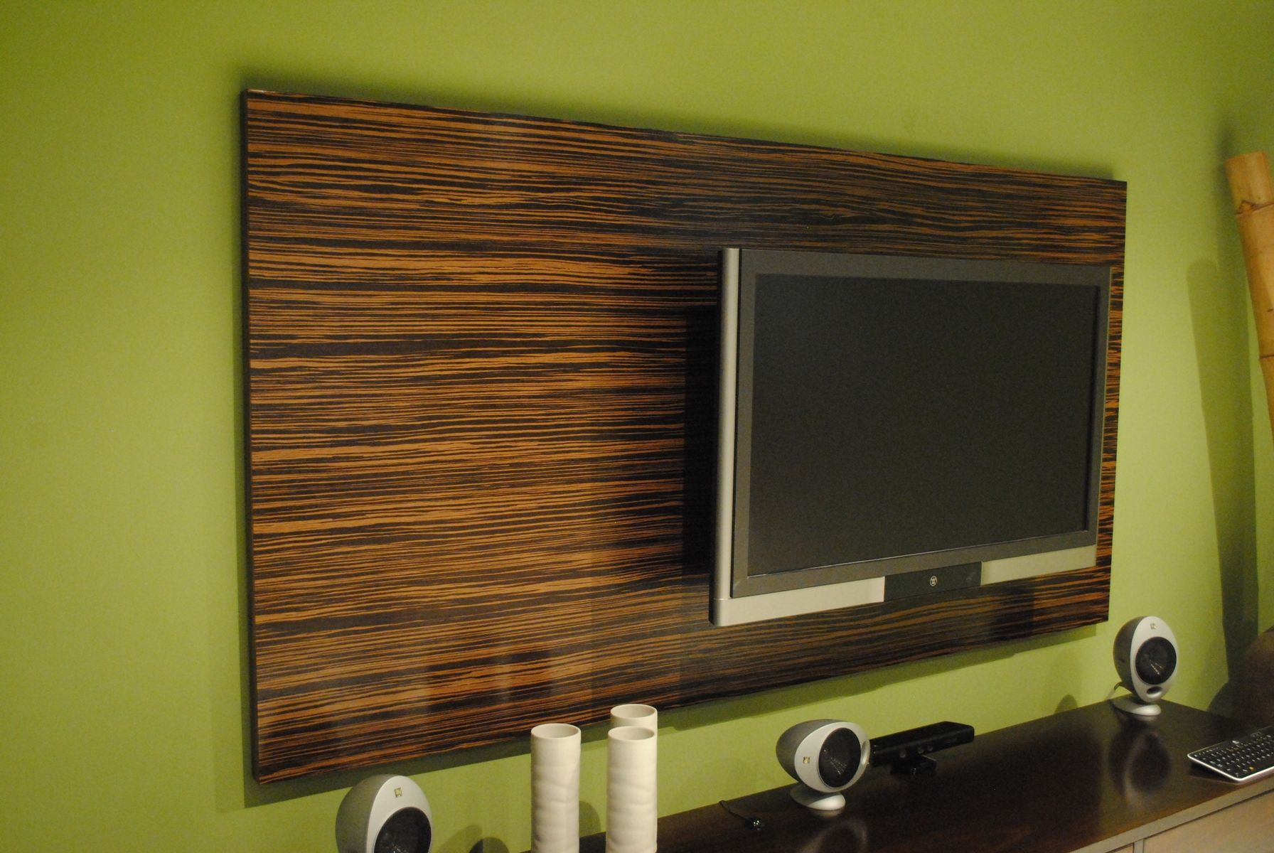 hand made macassar ebony wood wall tv panel by paradigm design ny. Black Bedroom Furniture Sets. Home Design Ideas