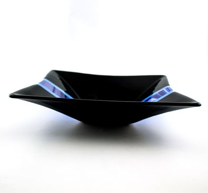 Custom Made Black And Blue Fused Glass Serving Bowl