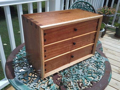 Custom Made Jewelry Chest; Sycamore And Other Woods