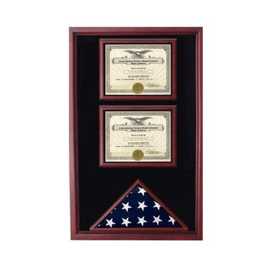 Custom Made 2 Certificates Flag Display Case