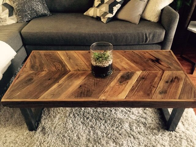 Custom Made Reclaimed Wood Chevron Coffee Table With Tubular Steel Legs To Order From Urban Mining Company Custommade