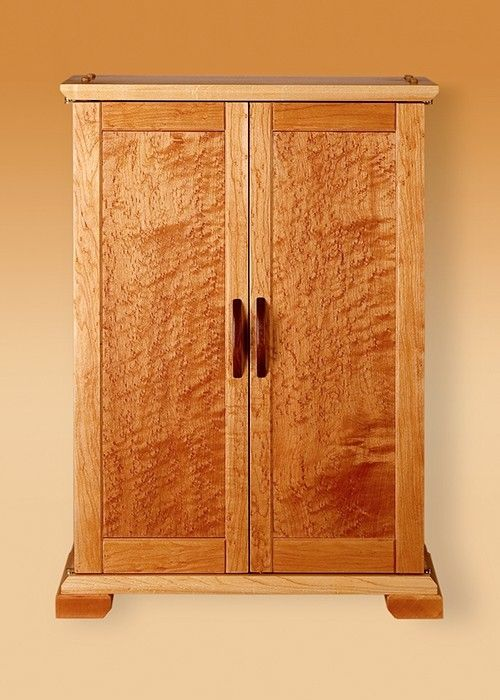 Hand crafted birds eye maple jewelry cabinet by woodworks for Birds eye maple kitchen cabinets