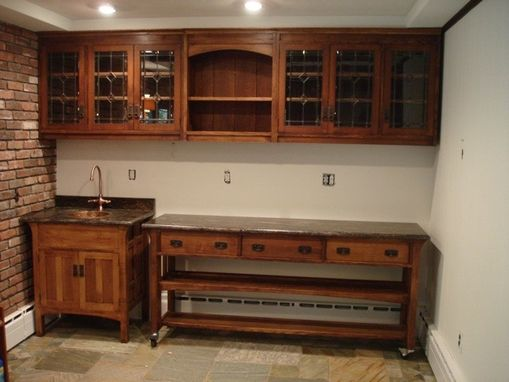 Custom Made Arts And Crafts Quartersawn Oak Bar, Sink, & Cabinet