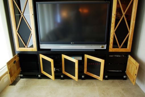 Custom Made Natural Maple Wood Entertainment Center