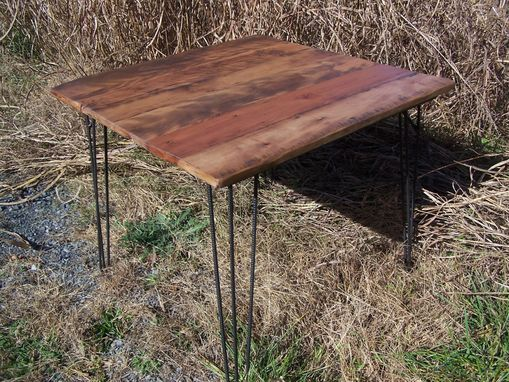 Custom Made Breakfast Table With Reclaimed Wood Plank Top And Industrial Style Mid Century Modern Hairpin Legs