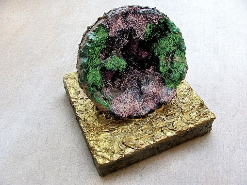 Custom Made Green & Purple Geode Sculpture