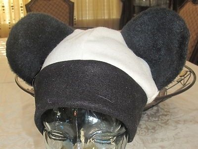 Custom Made Black-White Fleece/Black Fur Ears Panda Fleece Ear Hat In 6 Sizes