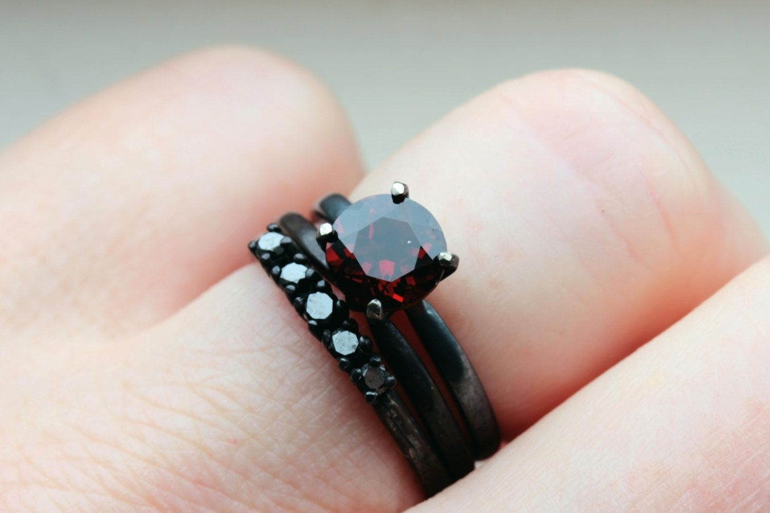 Hand Made Garnet And Black Diamonds On Oxidized Sterling