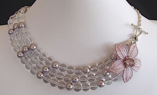 Custom Made Flower And Rock Crystal Triple Strand Necklace