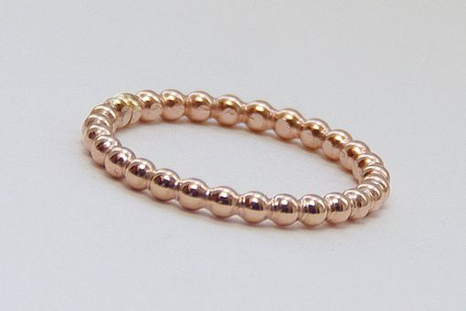 Custom Made 2mm Rose Gold Filled Stacking Beaded Ring, Handmade Rose Gold Fill Stack Ring
