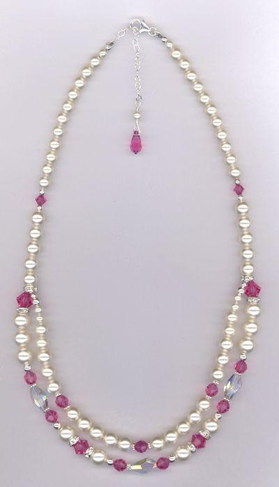 Hand Made Custom Bridal Swarovski Crystal Pearl Necklace