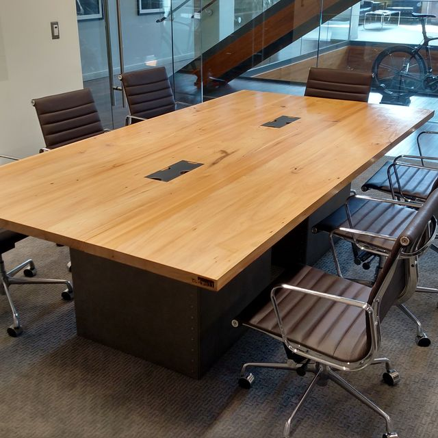 Hand Made Reclaimed Wood And Steel Industrial Conference Table By Re - Gray conference table